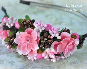 Bridal Headband Pink flowers Bridal flower Crown Wedding flower Crown Bridal Headpiece Flower Headband Wedding hair wreath Bridal halo LV12