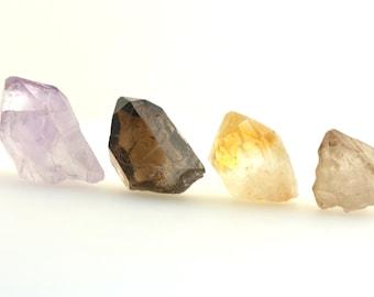 Quartz point crystal set, amethyst quartz point, 'citrine' (heated amethyst) point, smoky quartz point, elestial quartz, raw crystal point