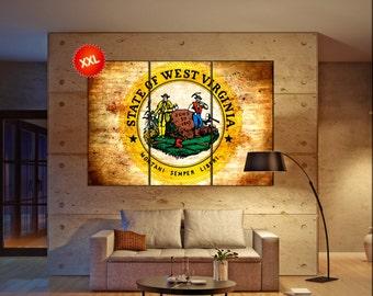 west virginia seal flag state flag wall art canvas print seal of west virginia state Wall Home decor interior Office Decor