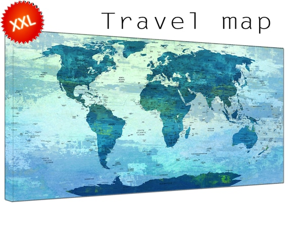 Push Pin Travel World Map canvas art print large by CanvasConquest – Push Pin Travel World Map