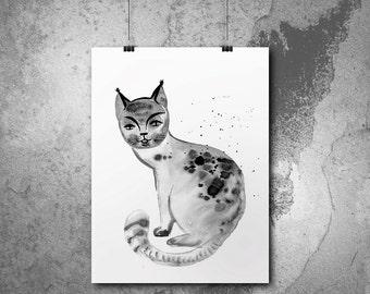 Melancholic cat, ink drawing. Print on archival matte fine art paper