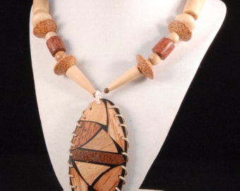 Vintage Handmade Wooden Necklace