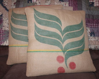 Upcycled Burlap Coffee Bag Pillow