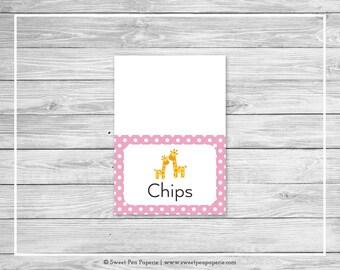 Giraffe Baby Shower Buffet Labels - Printable Baby Shower Buffet Labels - Pink Giraffe Baby Shower - Food Labels - EDITABLE - SP129