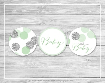 Mint and Silver Baby Shower Cupcake Toppers - Printable Baby Shower Cupcake Toppers - Mint and Silver Glitter Baby Shower - Toppers - SP125