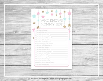 Twinkle Little Star Gender Reveal Who Knows Mommy Best Game - Printable Who Knows Mommy Best - Pink Aqua Gold Gender Reveal Party - SP139