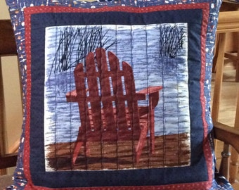 The Adirondack Chair...Lakehome Theme...Quilted Pillow Sham...Cabin Pillow
