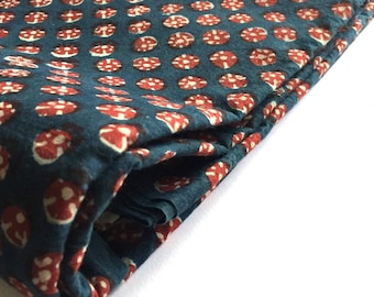 1 yard handmade cotton hand block printed natural dyed fabric