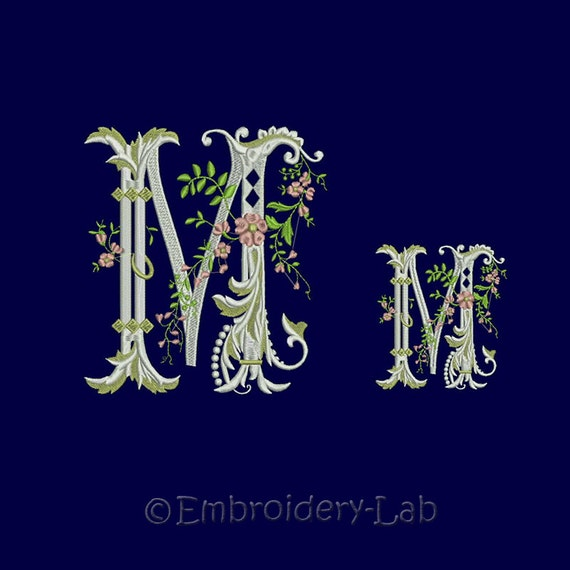 Shop Floral Monograms At Littlebrownnest Etsy Com: Floral Monogram Initial M Machine Embroidery Designs. Two