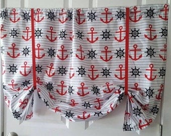 Red and black Nautical Anchor striped Window tie up Curtain