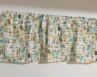 Kitchen Appliance Curtain valance tan and aqua