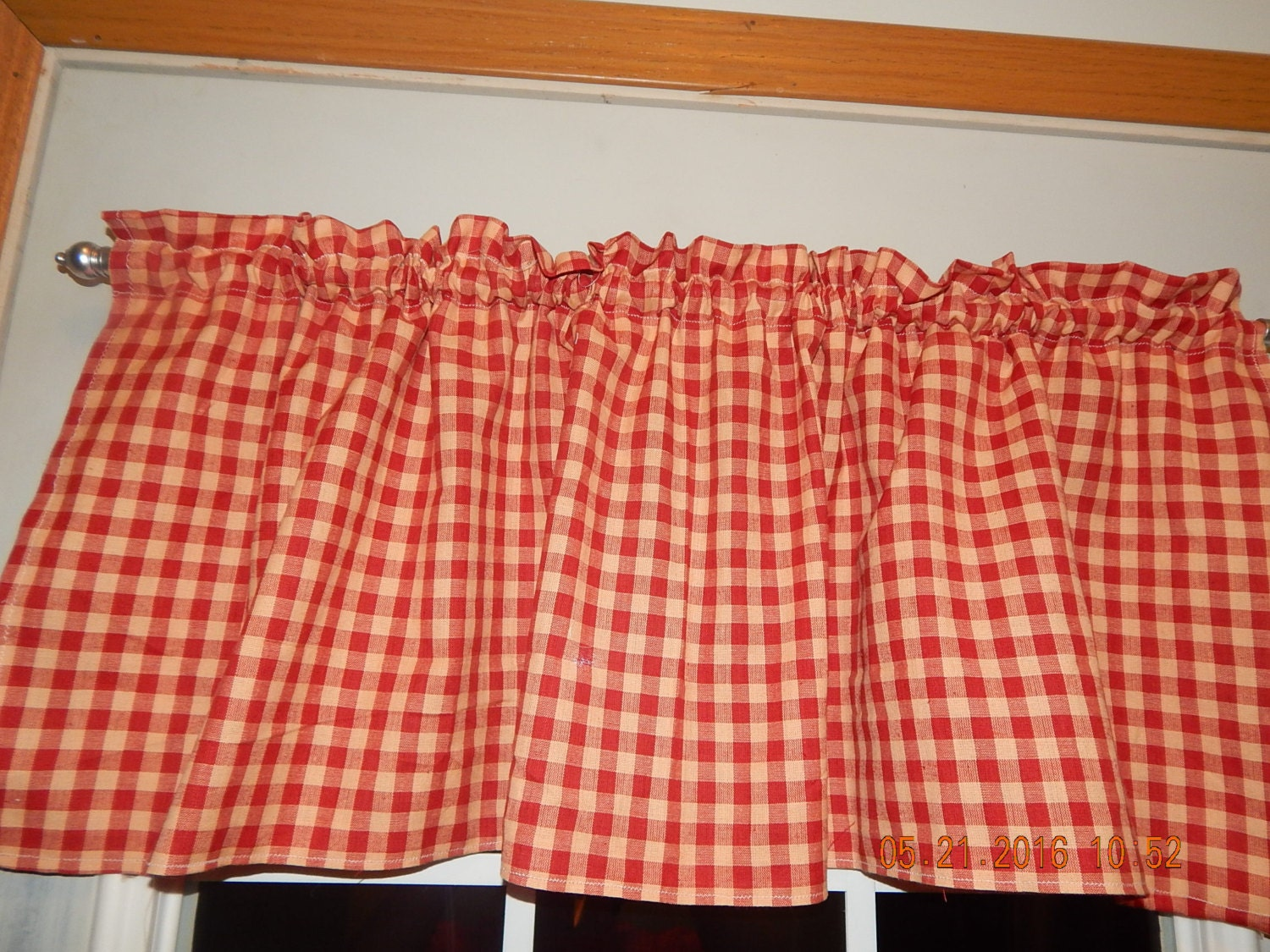 Primitive Red And Tan Checked Country Curtain Valance