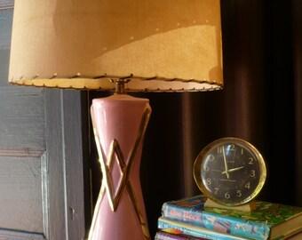 Mid Century Pink Lamp with Fiberglass Shade