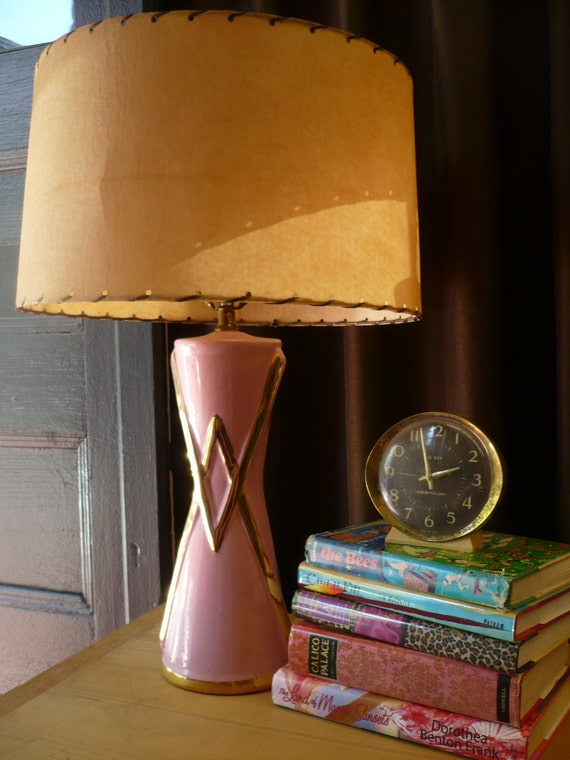 Mid Century Pink Lamp With Fiberglass Shade