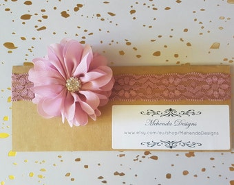 Newborn headband. Baby girl headband. Lace headband. Flower headband