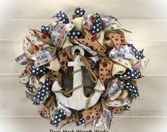Anchor Wreath, Nautical Wreath, Beach Wreath, Primitive Wreath, Summer Wreath, Burlap Wreath, Anchor Decor, Nautical Decor, Beach Decor