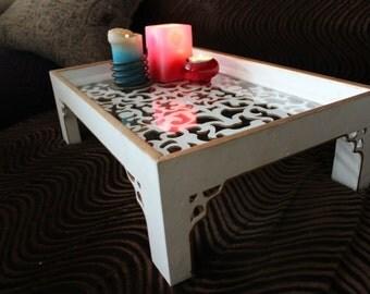 white breakfast tray, decorative tray, bed tray, tray for breakfast