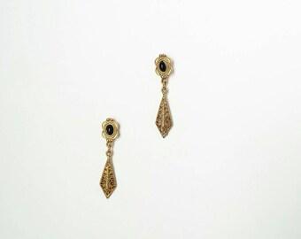 Gold plated vintage earrings, vintage dangle earrings