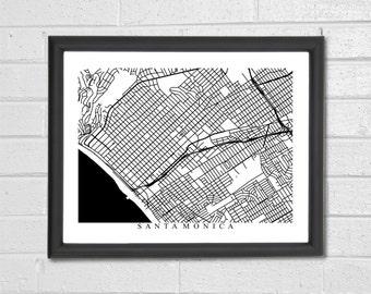 Santa Monica Map Art - Print - Black and White Print - California - Hometown Map - Personalized - Custom - Travel - Housewarming Engagement