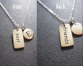 Best friends necklace, Sterling silver,initial necklace,personalized jewelry,friends initial charms,friendship
