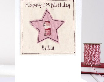 Girls Age Birthday Card - Personalised Girls Birthday Card - Embroidered Star Birthday Card - 1st Birthday Card - Special Age Card