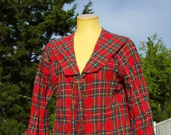 Plaid Blouse Thoroughbred Label with Bib and Tie, Schoolgirl, Girls, Women