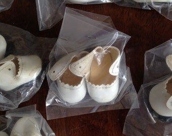 "2"" White Lace Tie Doll Shoes. 4 pair NOS.  Free Shipping"