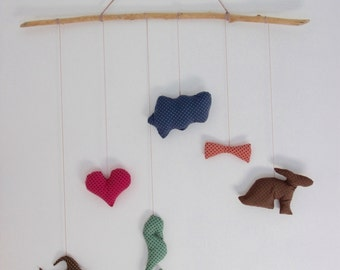 Child mobile, driftwood, natural cotton