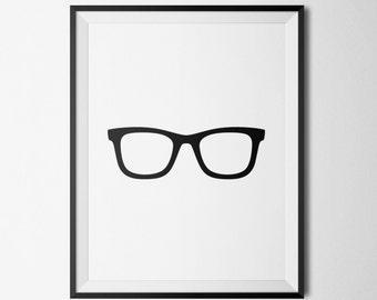 Glasses Print, Modern Wall Decor, Black Glasses, Printable Poster, Nerd Glasses Print, Geek Glasses, Minimalist Wall Art, Printable Wall Art