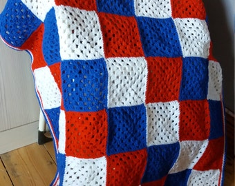 Red white and blue lap blanket