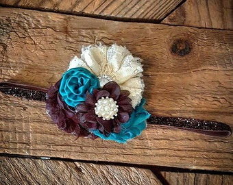 Teal and Brown shabby chic flower headband