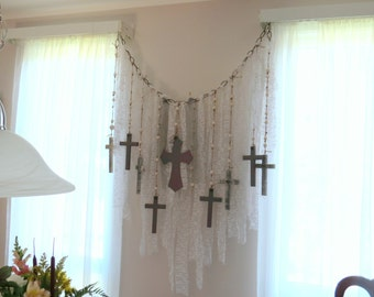 Cross garland, religious valance, rosary decor, window decor, wall rosary, wall crosses, shredded lace and wooden cross,