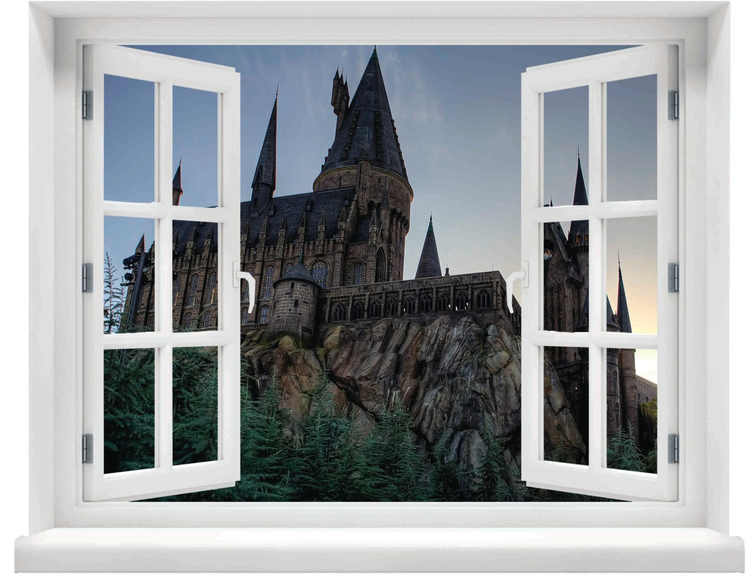 Window with a view harry potter hogwarts castle evening wall for Castle window mural