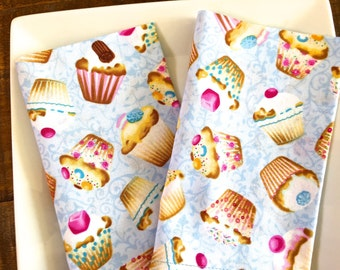 Kid's Lunchbox Cloth Napkins.  Cupcakes on Sky Blue Damask. Set of 2. Reusable. Back To School.