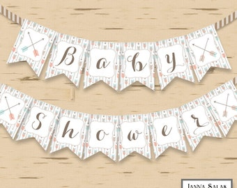 Tribal Arrow Baby Shower Banner Party Printables DIY Printable INSTANT DOWNLOAD Pdf TR001