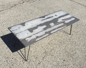 Reclaimed Barnwood Coffee Table with Hairpin Legs