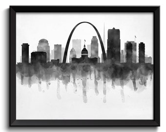 Saint Louis Skyline Missouri USA United States Cityscape Art Print Poster Black White Grey Watercolor Painting