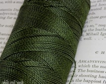 Olive Green, Waxed Thread, Macrame Cord, Linhasita, Beading Supplies, 10 yards