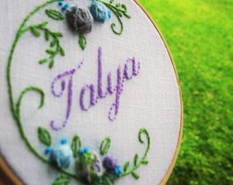 Custom Name Embroidery, Baby hoop art, Baby name hoop art, name hoop art, baby name embroidery, custom name