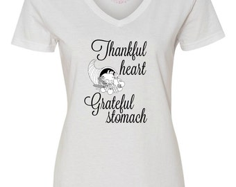 Women's Plus Size, Thankful Heart Grateful Stomach, Thanksgiving Shirt