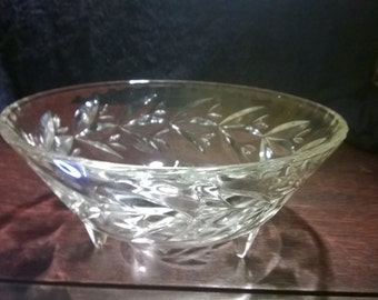 Large Cut Glass Tri Footed Bowl ~ Salad Bowl