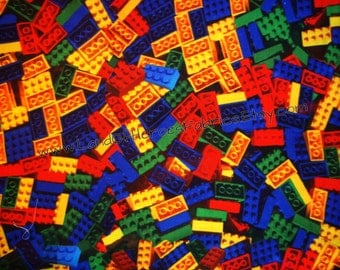 "If You Love Legos You'll Love the Giant Pile of Building Blocks on this Cotton-Poly Fabric, 56"" Width"