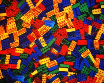 "ONLY 3 REMNANTS LEFT! If You Love Legos You'll Love the Giant Pile of Building Blocks on this Cotton-Poly Fabric, 56"" Width"