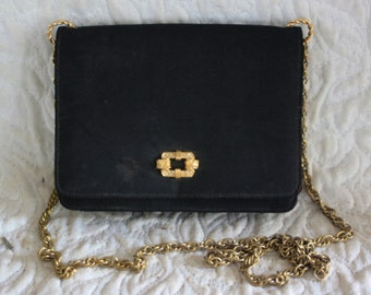 1950's Vintage small black evening shoulder purse Miss Lewis