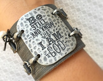 Leather Charm Cuff Bracelet