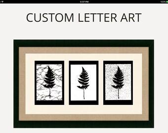 """CUSTOM GIFT-Letter Art-Ferns-Sepia-beautifully framed-20"""" x 14""""-customizable"""