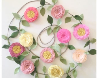 ROSE GARLAND // Felt Flower Garland // Floral Garland // You Pick Custom Color