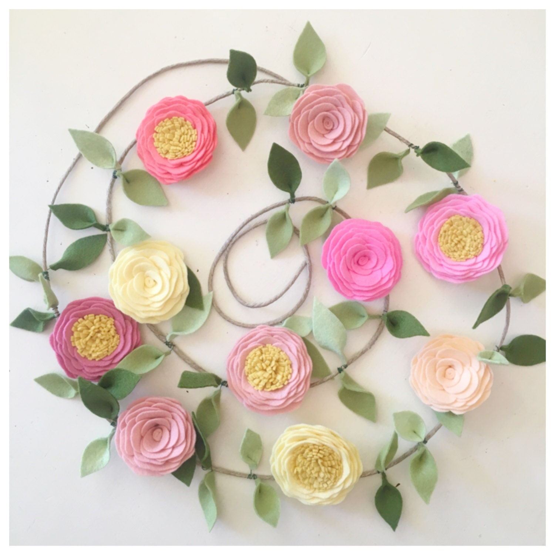 Flower Garland: ROSE GARLAND // Felt Flower Garland // Floral Garland