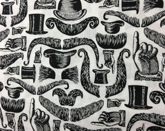 Mustache and top hat black and white cotton fabric 1 yard