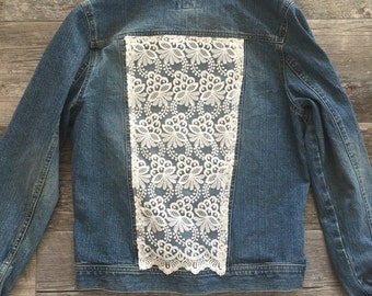 Up-cycled Jean Jacket: Lace